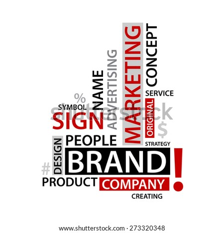 Word Cloud with branding tags, vector business concept - stock vector