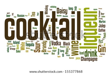 Word cloud with different cocktails and ingredients - stock vector