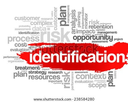 Word Cloud with Identification related tags, vector business concept - stock vector
