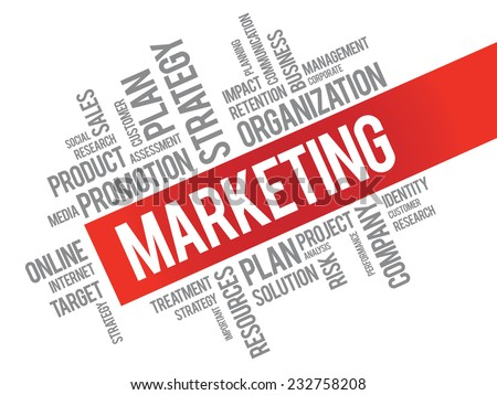 Word Cloud with Marketing related tags, vector business concept - stock vector