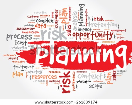 Word Cloud with PLANNING related tags, business concept - stock vector