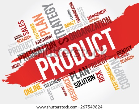 Word Cloud with Product related tags - stock vector