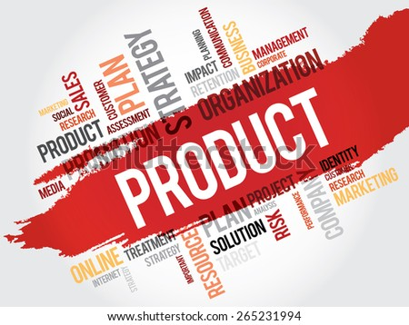 Word Cloud with Product related tags, business concept - stock vector
