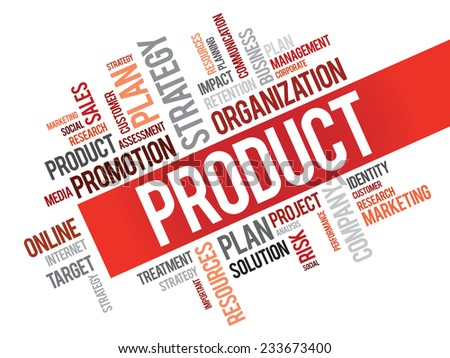 Word Cloud with Product related tags, vector business concept - stock vector