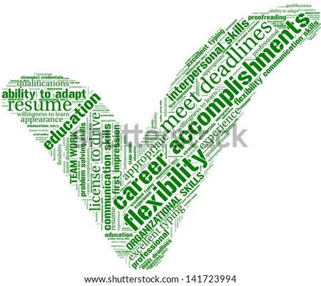 Word cloud with qualification terms - stock vector