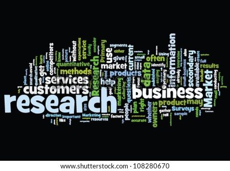 Word cloud with research concept on black - stock vector