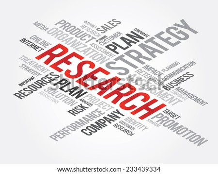 Word Cloud with Research related tags, vector business concept - stock vector