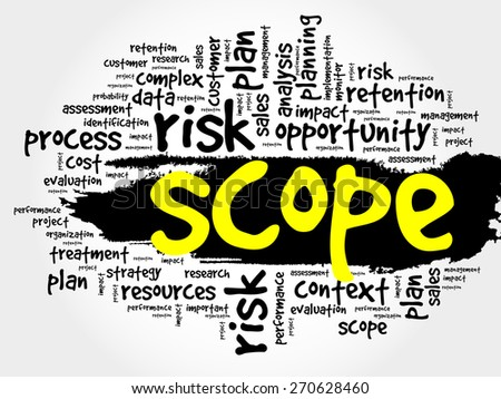 Word Cloud with SCOPE related tags, business concept - stock vector