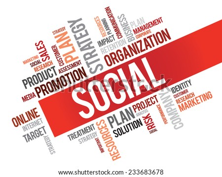 Word Cloud with Social related tags, vector business concept - stock vector