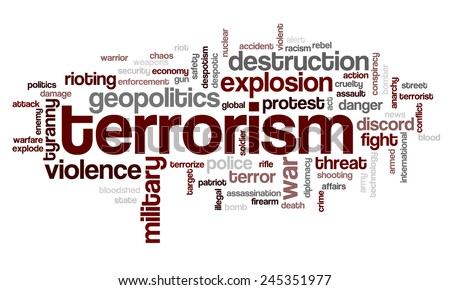 Word cloud with terms related to terrorism, terror, hatred, geopolitics, destruction and violence