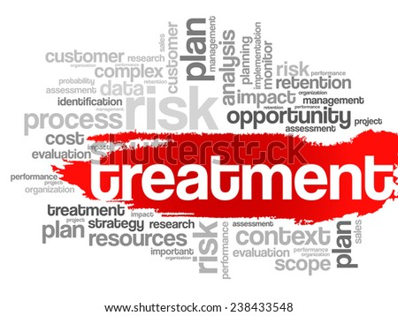 Word Cloud with Treatment related tags, vector business concept - stock vector