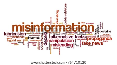 Word cloud with words related to hybrid warfare, alternative facts, fake news and media manipulation, propaganda and misinformation
