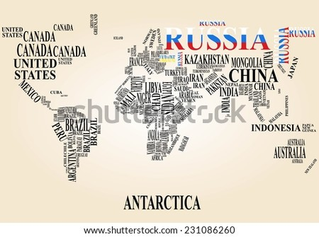 word cloud world map with russia and ukraine