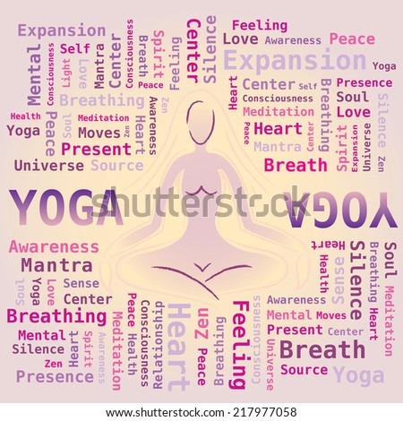 Word Cloud Yoga with Silhouette / Pose - stock vector