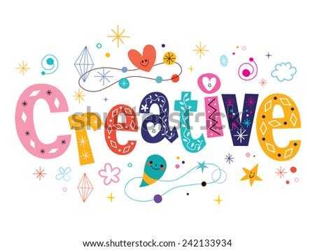 word creative decorative type lettering text design - stock vector