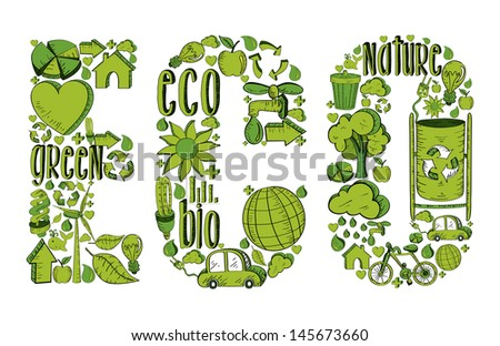 Word eco with environmental hand drawn icons in green. This illustration is layered for easy manipulation and custom coloring - stock vector