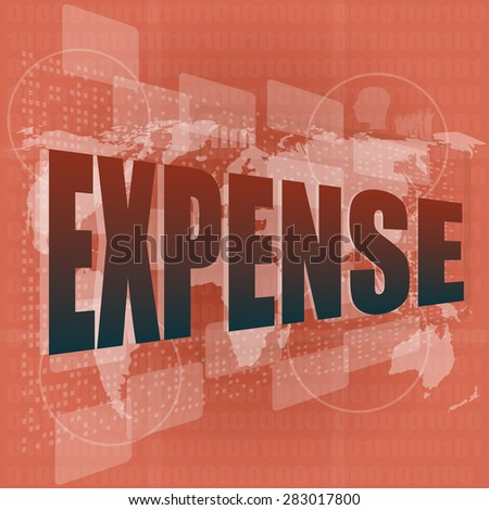 word expense on digital screen, business concept, vector - stock vector