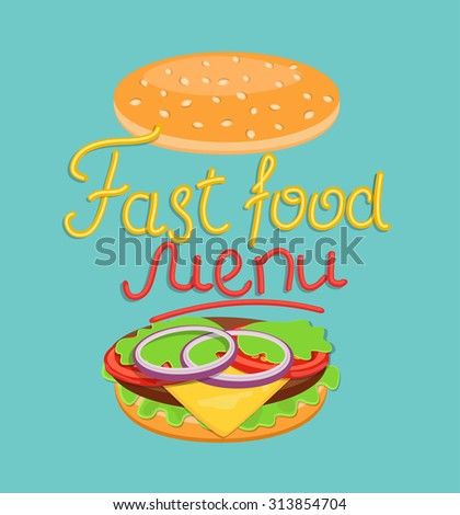 Word fast food menu  - made up of yellow and red sauce with burger, vector Eps10 illustration.