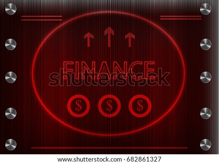 "word ""finance""on a red background. 2d illustration"