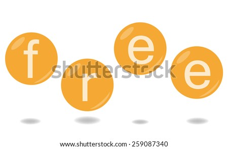 Word free in bubbles - stock vector
