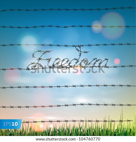 Word freedom written by a barbed wire, vector Eps10 illustration. - stock vector