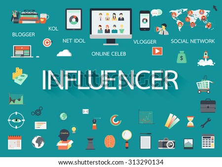 Word INFLUENCER with involved flat icons around. - stock vector