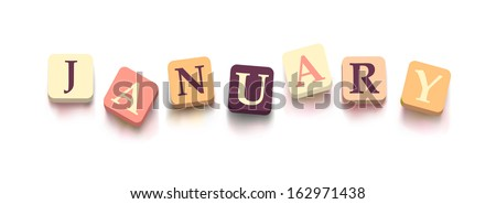 "Word ""january"" with colorful blocks isolated on a white background. Description with bright cubes. Vector illustration EPS 10."