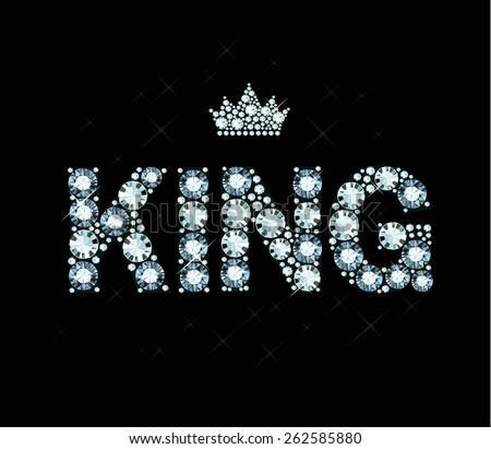 Word king made of diamonds - stock vector