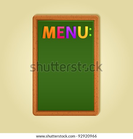Word Menu and Blank Space on Green Blackboard. Vector Illustration - stock vector