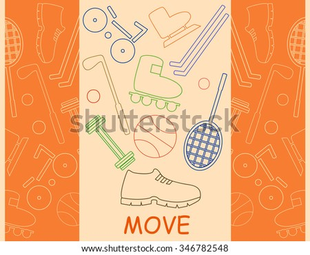 """Word """"Move"""" and objects from different sports - stock vector"""