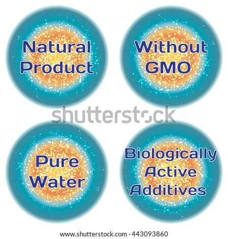 Word Natural Product. Without GMO. Pure Water. Biologically Active Additives. Health concept with text in a high-tech frame. Modern Medical concept. Vector