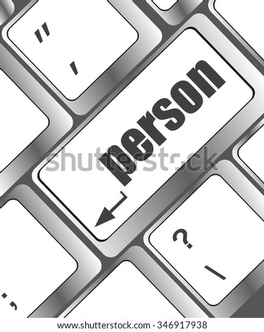 word person on computer keyboard key vector illustration