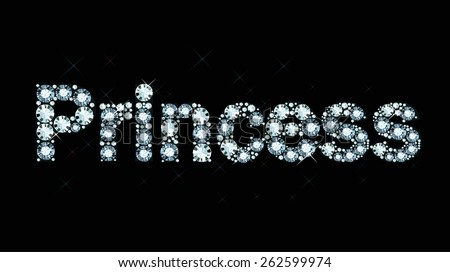 Word princess made of diamonds - stock vector