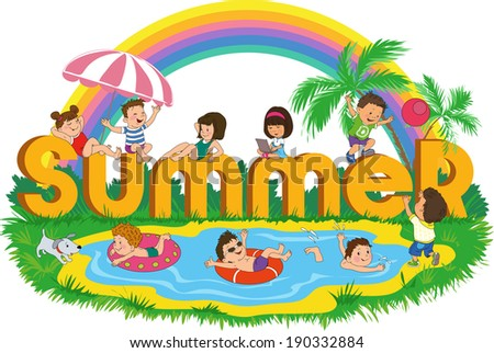 Word summer with happy kids on the beach on the background of the rainbow - stock vector