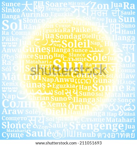 "Word ""sun"" in different languages of the world on gradient background as the sun in the sky"