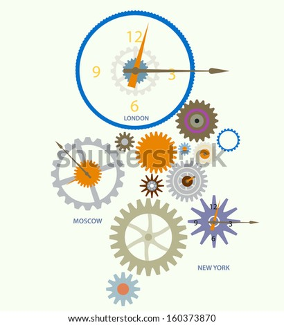 Word time - cogwheels with clock editorial illustration - stock vector