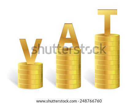 Word VAT on Gold Coin Isolated, Vector illustration - stock vector