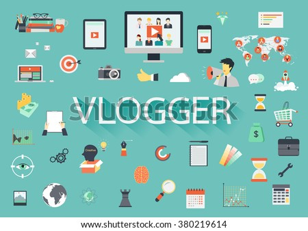 Word VLOGGER with involved flat icons around. - stock vector