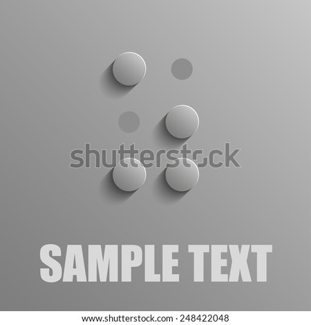 Word Z in Braille on blue background - stock vector