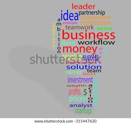 Wordcloud business lightbulb. Process think innovate bulb idea success solution innovation tag - stock vector