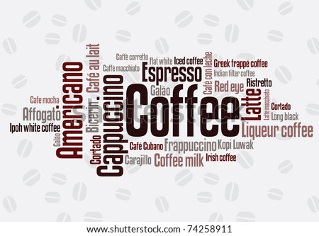Wordcloud of coffee - stock vector