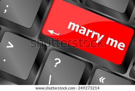 Wording Marry Me on computer keyboard key - stock vector