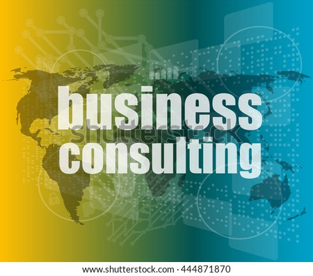 words business consulting on digital screen, business concept vector quotation marks with thin line speech bubble. concept of citation, info, testimonials, notice, textbox. flat style design