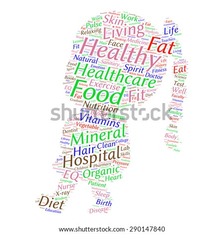 words cloud related to healthy lifestyle  - stock vector