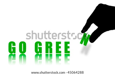 Words GO GREEN Isolated on White, Abstract Vector - stock vector