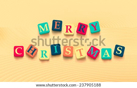 Words merry christmas with colorful blocks isolated on wooden background. Description with bright cubes. Vector illustration EPS 10.