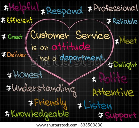 Words of customer service approach done in sketch - stock vector