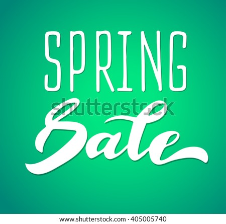 Words spring sale, brush lettering spring  poster. Vector spring illustration