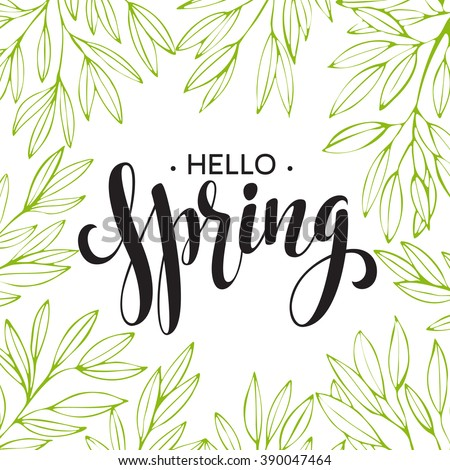 Words Spring with wreath, branches,leaves . Vector illustration EPS10 - stock vector