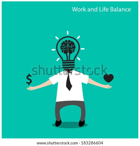 Work and life balance concept,businessman icon,business concept,cartoon concept.vector illustration - stock vector